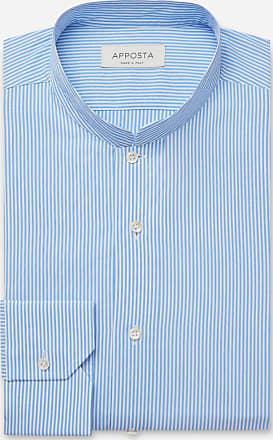 Apposta Camicia righe azzurro 100% puro cotone tela, collo stile coreano aperto