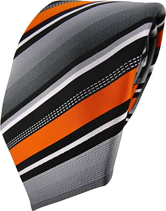 TigerTie Designer tie necktie in orange silver gray white striped - Tie necktie