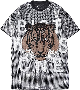 Saoye Fashion Womens Short Sleeve Tops Round Neck Tiger Slim Sequined T-Shirts Feast Clothing Hip Hop Relaxed Shirts Summer Versatile and Long Sections Shirt Club D