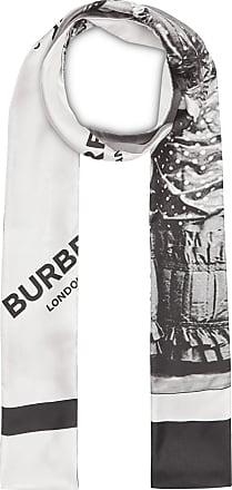 4893c9e2a41a Burberry Victorian Portrait Print Silk Skinny Scarf - Grey