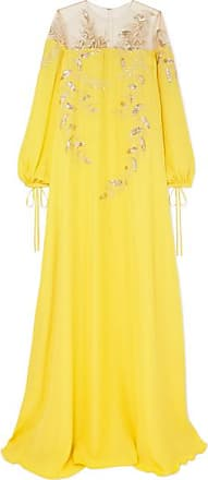 Oscar De La Renta Metallic Appliquéd Silk-crepe Gown - Yellow