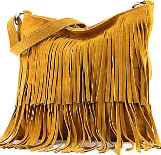 modamoda.de Ital. Leather bag Shoulderbag Shoulder bag Ladiesbag Wild leather T125, Colour:Curcuma