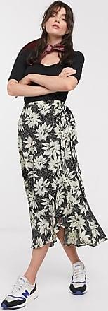 Whistles starburst floral wrap midi skirt in black