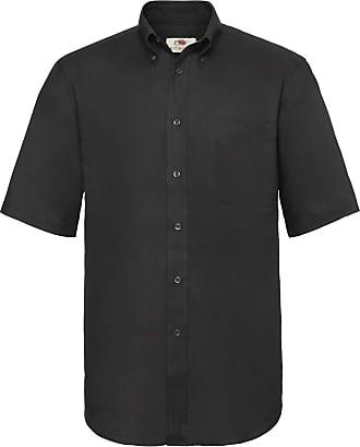 Fruit Of The Loom Mens Short Sleeve Oxford Shirt Black XL 17-17.5