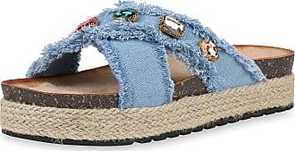 Scarpe Vita Women High-Heeled Sandals Mules Denim Rhinestone 190579 Light Blue UK 6.5 EU 40