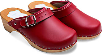 FUTURO FASHION Womens Healthy Natural Genuine Leather Wooden Sole Plain Clogs Unisex Colours Sizes 3-8 UK Red