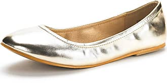 Dream Pairs Womens Slip On Round Toe Ballet Flats Pumps Shoes Sole-Fina Gold Glitter Size 6.5 US/ 4.5 UK