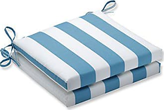 Pillow Perfect Outdoor/Indoor Cabana Stripe Turquoise Squared Corners Seat Cushion 20x20x3 (Set of 2)