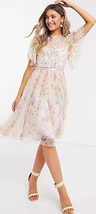 Needle & Thread exclusive embellished top mini dress in floral print-Multi