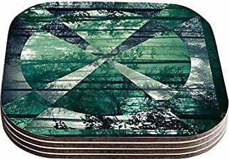 KESS InHouse Matt EklundFoliage Green Geometric Coasters (Set of 4), 4 by 4, Multicolor