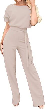 Yidarton Womens Short Sleeve Jumpsuit Ladies Solid Casual Short Playsuit Romper with Belt (Long-Khaki, XXL)