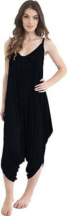ZEE FASHION Ladies Womens Plain Ali Baba Harem Suit Cami Strappy Lagenlook Dress Oversized All in One Jumpsuit (20-22, Black.)