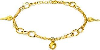 Prado Joias Pulseira Em Ouro 18k Dupla Com Pingentes Chave e Coração