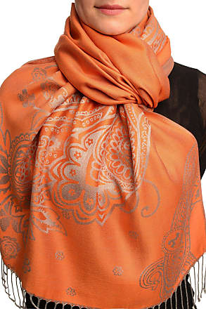 Liss Kiss Paisley & Roses On Terracotta Pashmina Feel With Tassels - Brown Pashmina Floral Scarf
