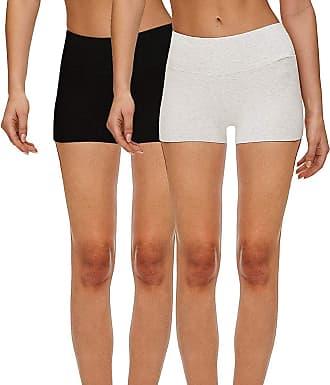 iLoveSIA 2Pack Womens Knickers Yoga Gym Workout Boy Shorts Black+Pale Gray M