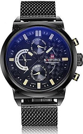 NAVIFORCE Relógio Masculino Naviforce 9068 BYB Pulseira em Aço - Preto e Amarelo