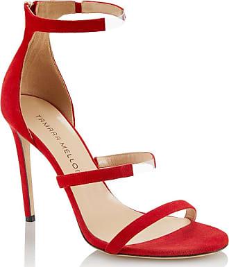 Tamara Mellon Reverse Frontline Red Suede Sandals, Size - 35.5