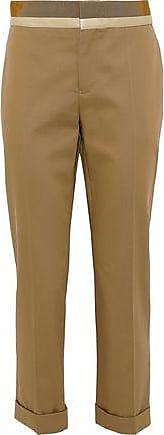 Haider Ackermann Haider Ackermann Woman Silene Cropped Satin-trimmed Cotton-twill Tapered Pants Sand Size 36