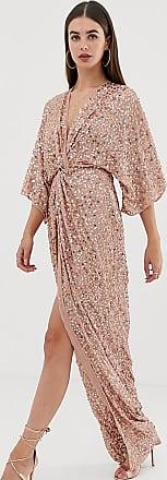 Asos Tall ASOS DESIGN Tall - Kimono-Maxikleid mit Zierknoten und Pailletten-Mehrfarbig