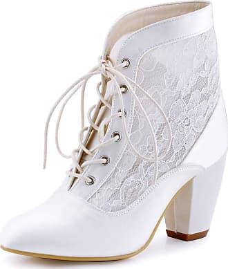 Elegantpark HC1559 Women Closed Toe Lace-up Ankle Boots High Heels Prom Lace Wedding Party Court Shoes White UK 5