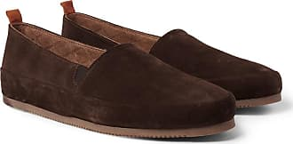 Mulo Shearling-lined Suede Slippers - Dark brown