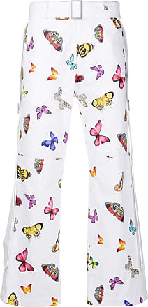 Palm Angels White cotton trousers with butterfly print