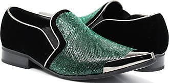 Enzo Jeans Romeo Crisiano Men Rhinestone Chrome Toe Suede Pointy Dress Loafer Slip On Shoes Green Size: 8 UK