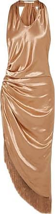 Helmut Lang Fringed Gathered Satin Midi Dress - Brass