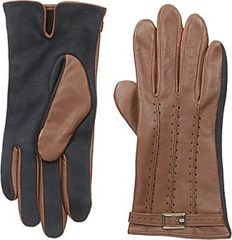 Adrienne Vittadini Womens Perforated Leather Touchscreen Gloves, Cognac, X-Large