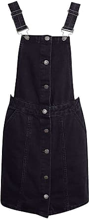 Shelikes Womens Ladies Black Denim Button Up Pinafore Dungaree Dress Skirt [UK 12]