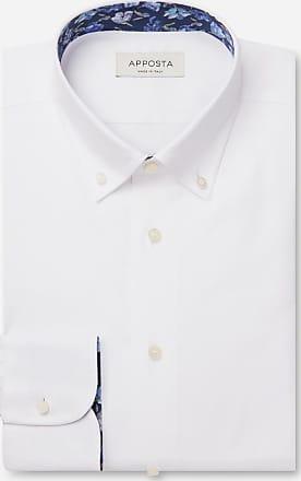 Apposta Camicia tinta unita bianco 100% cotone no stiro twill, collo stile button down basso