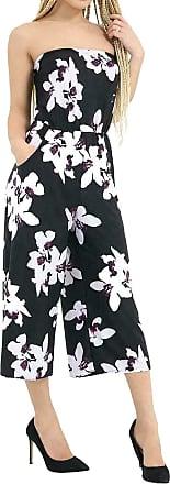 Islander Fashions Womens Floral Strapless Pocket Playsuit Ladies Bandeau Boobtube 3/4 Jumpsuit White Lily Black Small/Medium UK 8-10