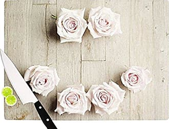 KESS InHouse Cristina MitchellSmile Cutting Board, 11.5 by 8.25-Inch, Pink, Wood Roses