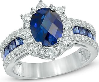 Zales Oval Lab-Created Blue and White Sapphire Frame Engagement Ring in Sterling Silver