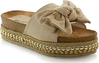 a2378edcd6b ESSEX GLAM Womens Bow Flatform Sandals Peep Toe Ladies Pearl Stud Wedges  Shoes Platform Beige