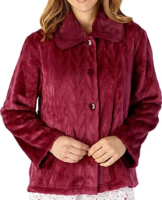 Slenderella Ladies Long Sleeve Thick Soft Dark Pink Velvet Fleece Button Up Bed Jacket with Faux Fur Collar Size 10 12