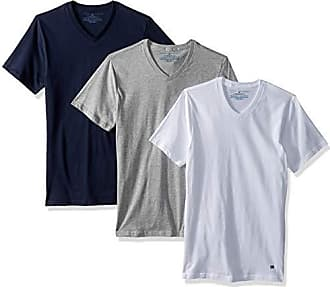 Tommy Hilfiger Mens Undershirts 3 Pack Cotton Classics Slim Fit V-Neck T-Shirt, Dark Navy/Grey Heather/White X-Large