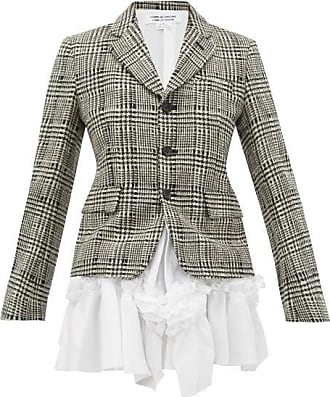 Comme Des Garçons Comme Des Garçons Comme Des Garçons - Ruffled-poplin Panel Checked-wool Jacket - Womens - Black White