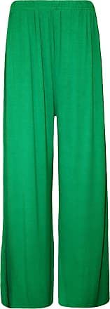 Crazy Girls Ladies Plus Size Palazzo Trousers Womens Baggy Flared Wide Leg Pants Sizes 8-24 (Medium Long, Green)
