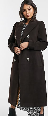 Glamorous Zweireihiger Mantel mit Taillenband-Braun