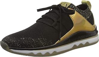 A X Armani Exchange Womens Sock Low-Top Sneakers, Black Black Lt Gold R488, 3 UK