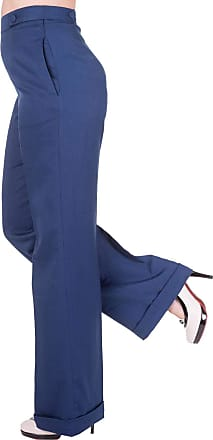 Banned Party On Wide Leg 40s Style Trousers Classic - UK 22 (4XL) / Blue