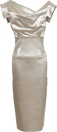 24ad15321822 Black Halo Black Halo Woman Draped Metallic Satin Dress Platinum Size 14