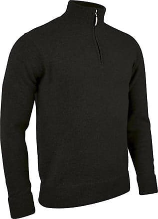 Glenmuir Mens MKL7282ZN Zip Neck Lambswool Golf Sweater Black XL