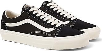 Vans Og Old Skool Lx Leather-trimmed Canvas And Suede Sneakers - Black