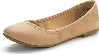 Dream Pairs Womens Slip On Round Toe Ballerina Ballet Flats Pumps Shoes Sole Happy Nude Size 7.5 US/ 5.5 UK