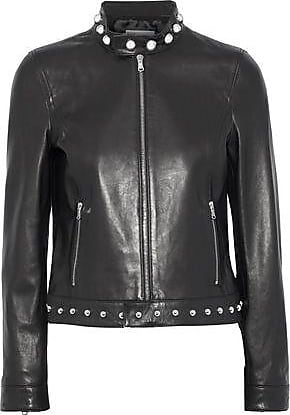 Red Valentino Redvalentino Woman Embroidered Studded Leather Jacket Black Size 38