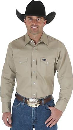 Wrangler Mens Cowboy Cut Western Two Pocket Long Sleeve Snap Work Shirt - Firm Finish - B&t - Khaki - XXL Tall