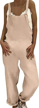 JERFER Womens Linen Long Playsuit Dungarees Harem Pants Ladies Overall Playsuit Jumpsuit Casual Fashion Romper Khaki