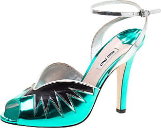 87546642215 Miu Miu Miu Miu Metallic Green Leather Peep Toe Ankle Strap Sandals Size 40